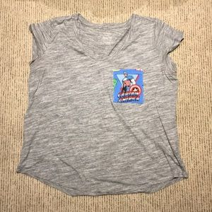 Size 2XL gray tshirt with captain america pocket!